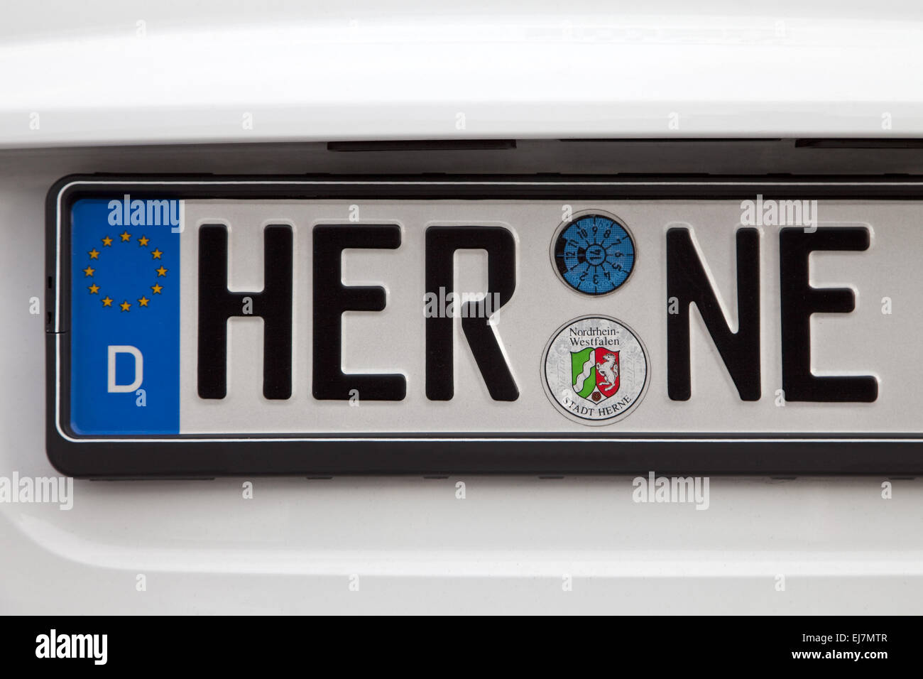 Car license plate Herne, German - Stock Image