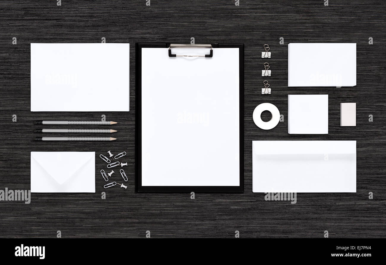 Template mockup for corporate branding identity consists of paper template mockup for corporate branding identity consists of paper envelopes business card pencils eraser clips folder reheart Choice Image