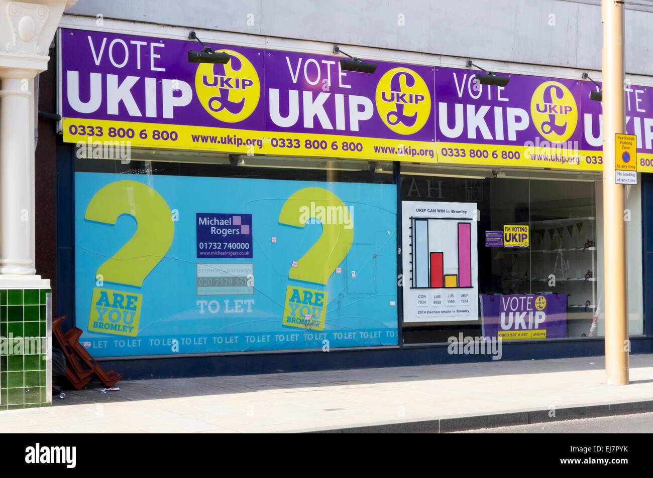 UKIP campaign office in Bromley, South London for General Election 2015. - Stock Image