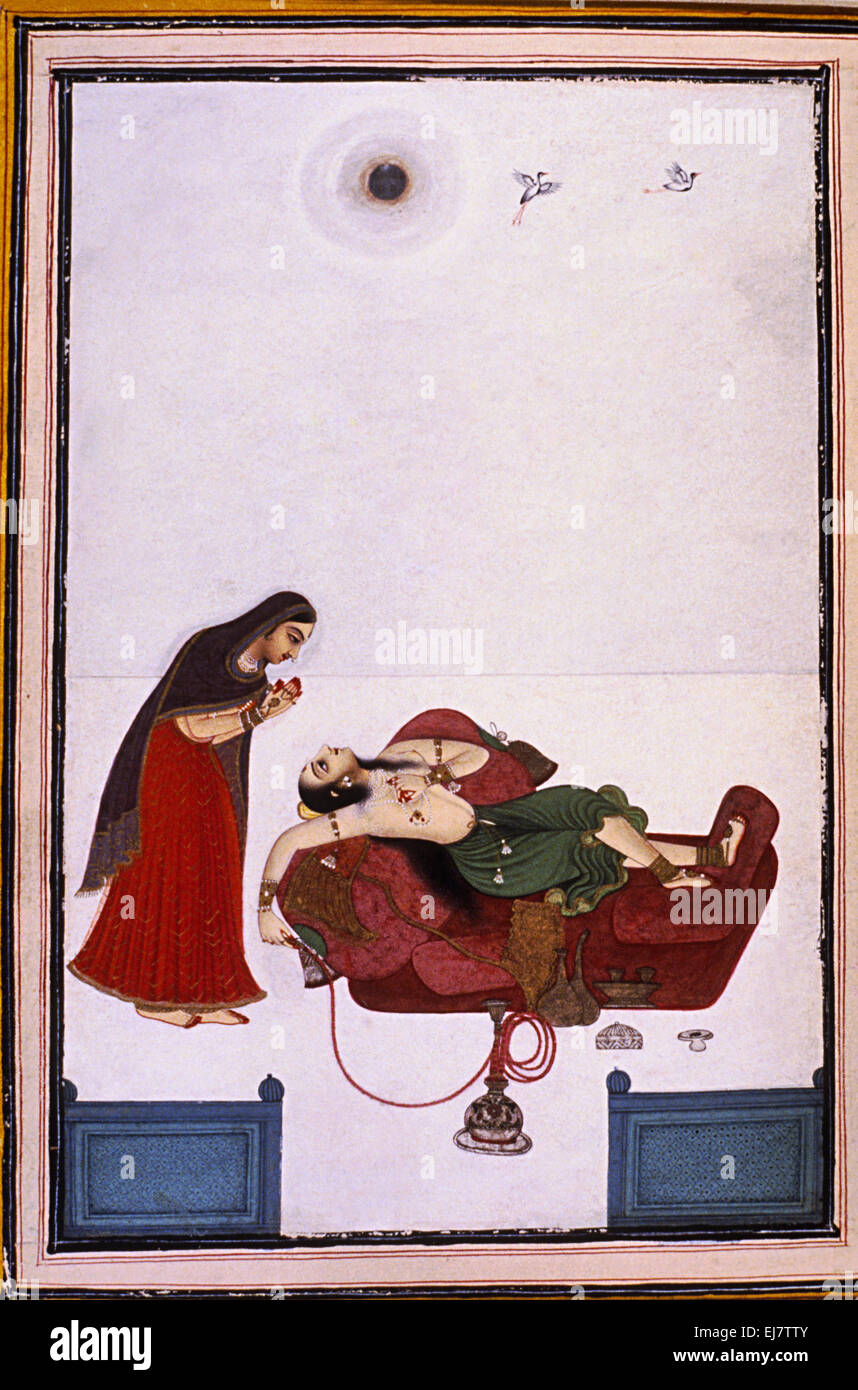 Lady yearning for her lover. Rajput miniature painting circa. 1800 A.D. India - Stock Image