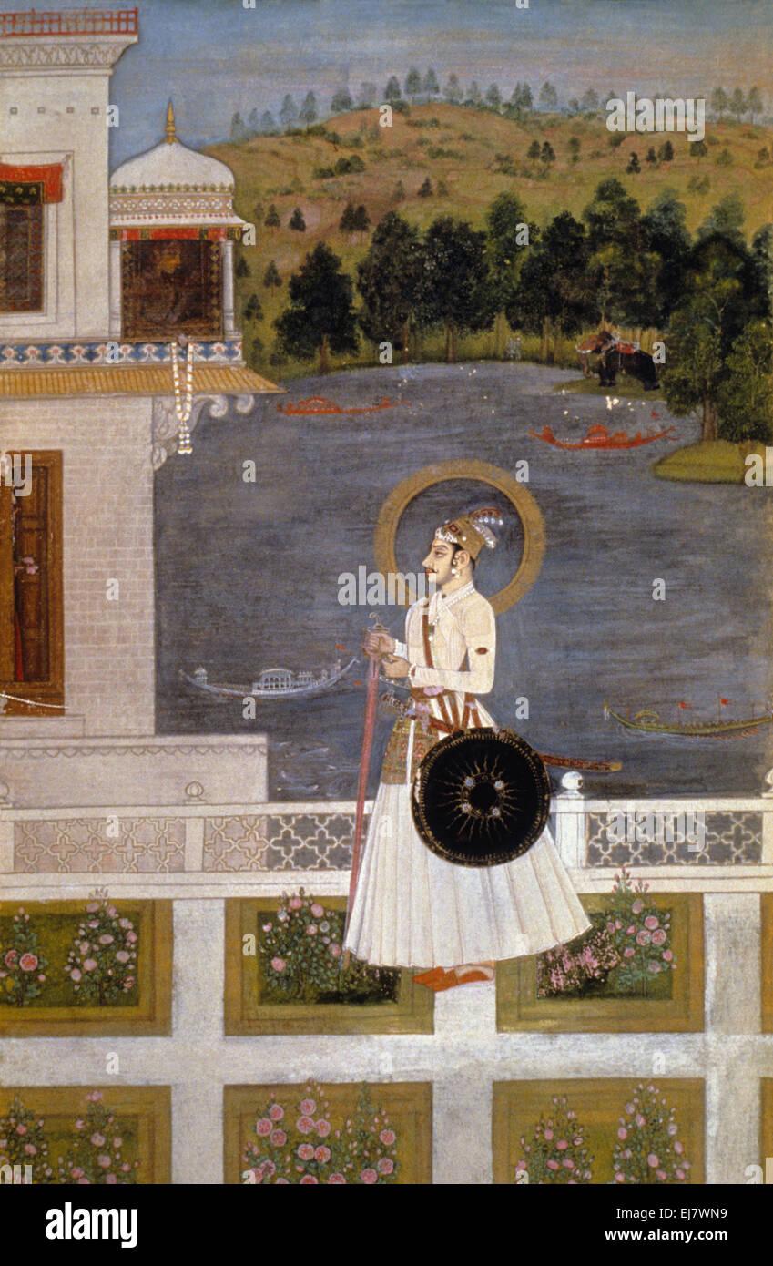 Portrait of Sawant Singh Muhammad Shah, Kishangadh. Rajput miniature painting circa. 1750 A.D. India - Stock Image