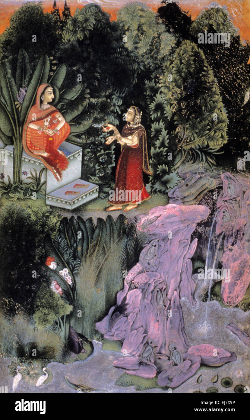 Radha and confidante in the forest. Rajput miniature painting circa. 1800 A.D. Rajasthan India - Stock Image