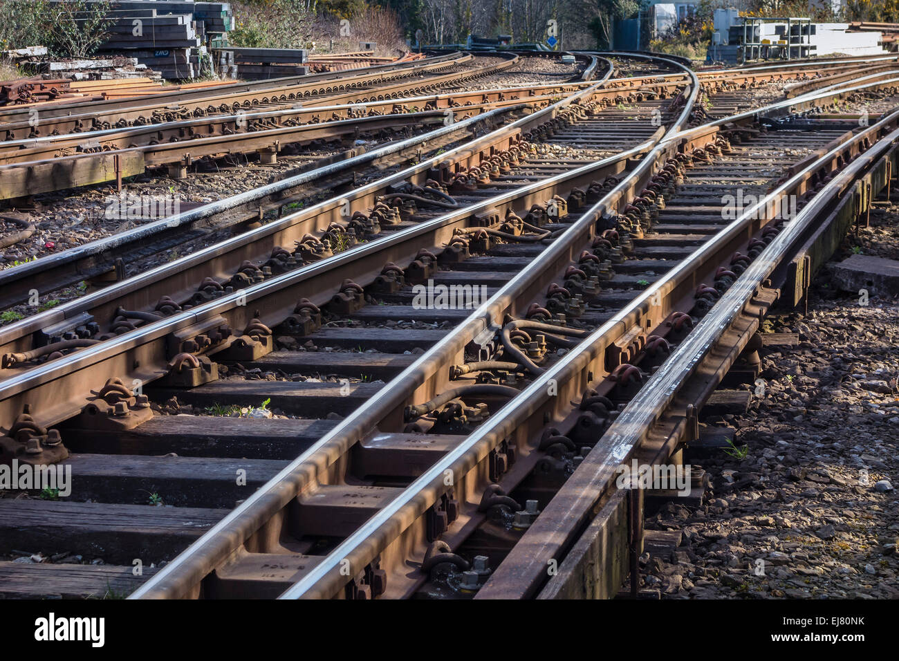 Railway Lines at Branksome, Dorset, England, UK - Stock Image
