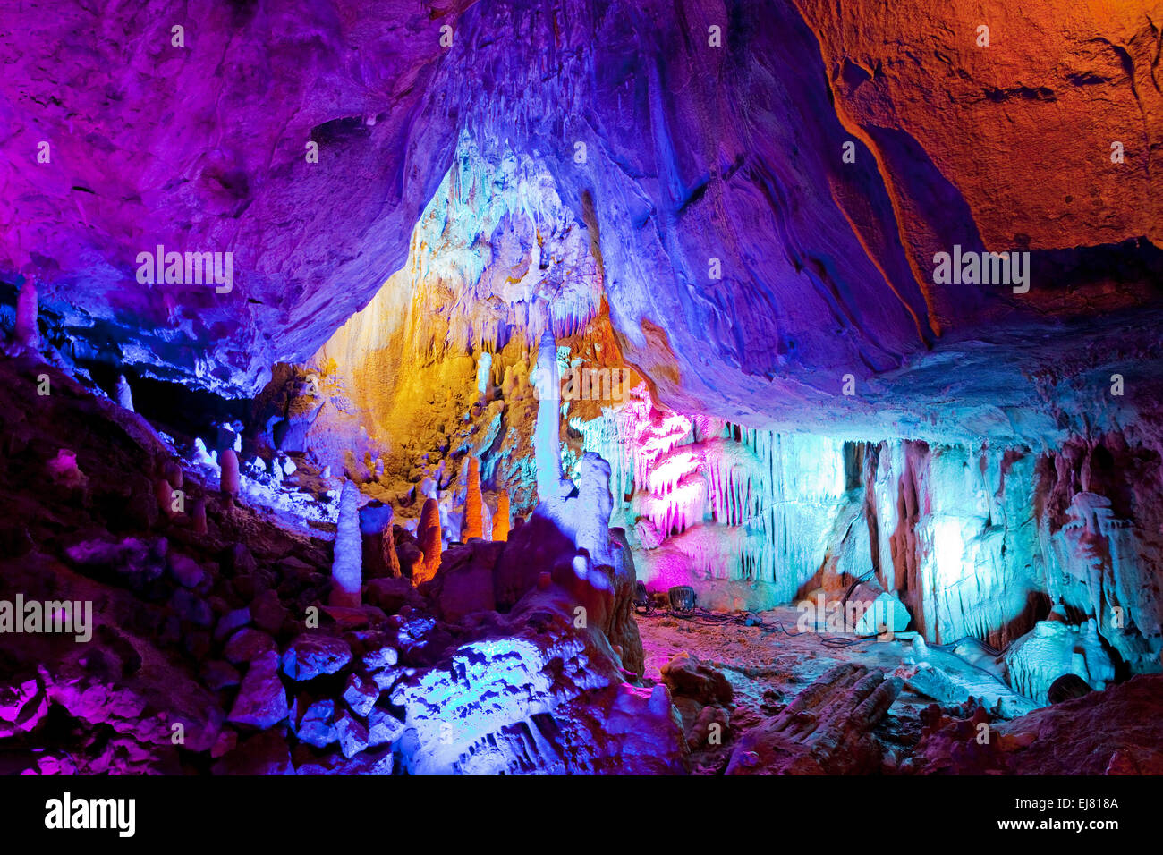 Event cave lights, Iserlohn, Germany - Stock Image
