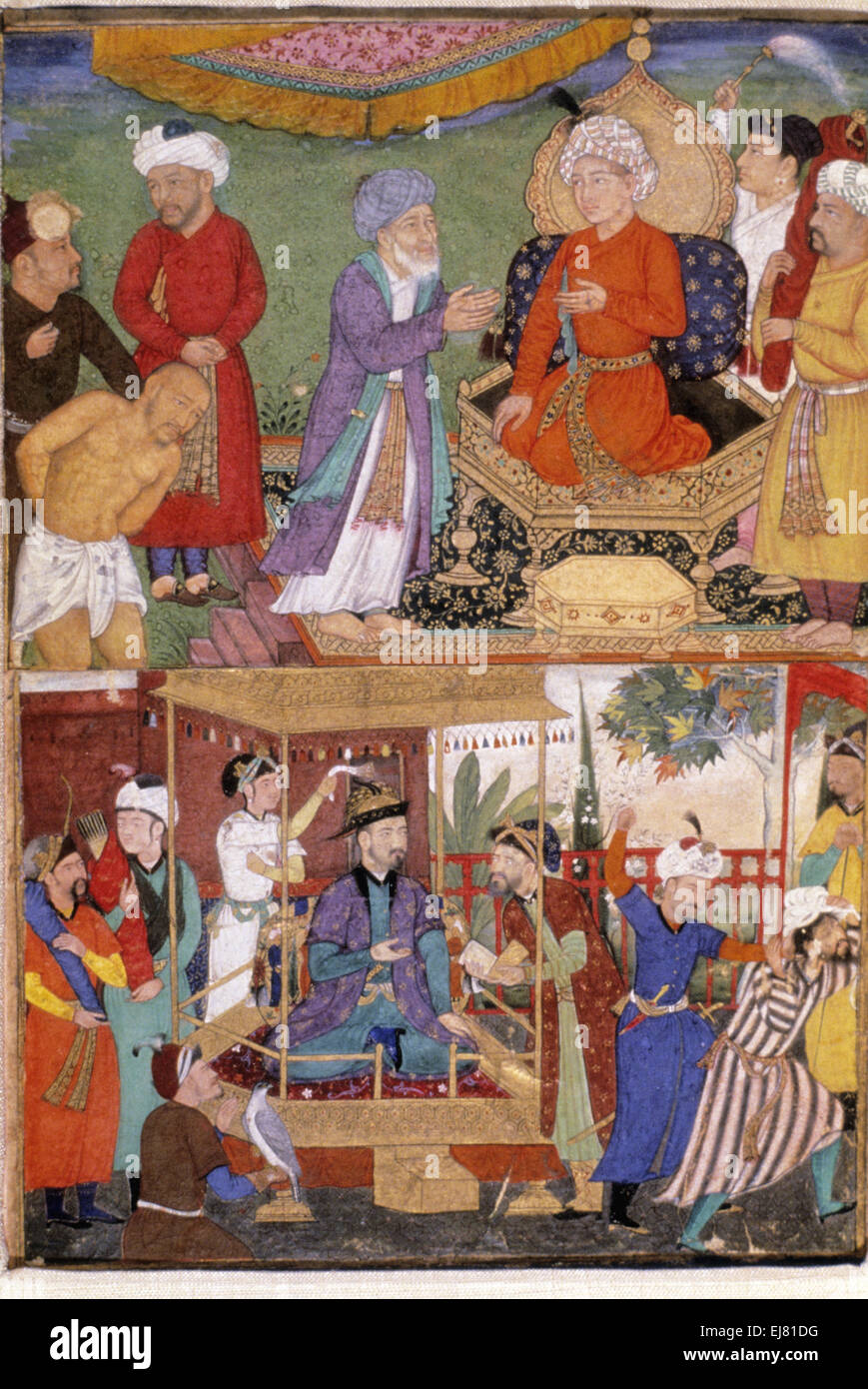 A criminal is condemned and below- An imposter is expelled. Mughal miniature painting circa 1600 A.D. India - Stock Image