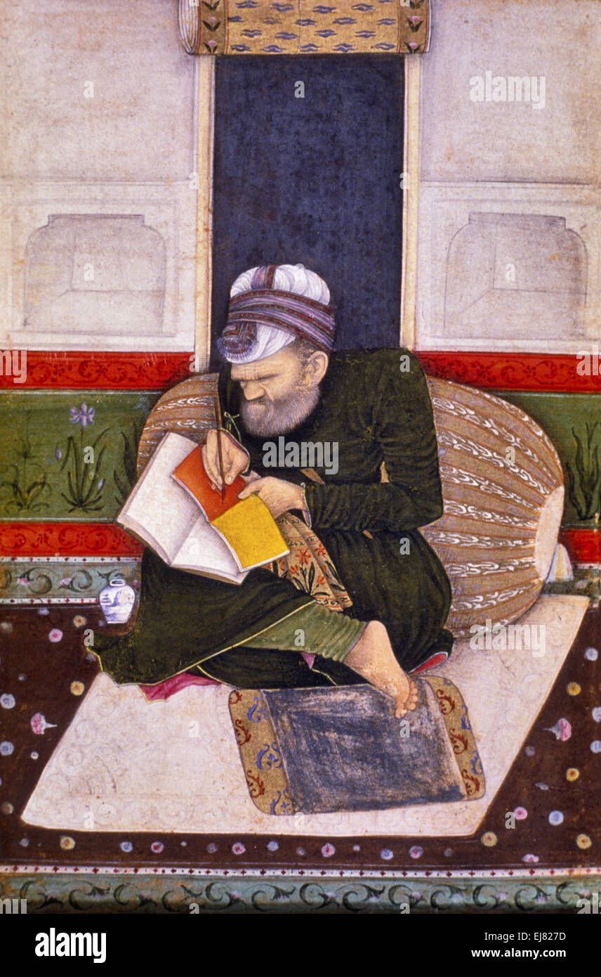 A Scribe writer. Mughal miniature painting circa 1600 A.D. India - Stock Image