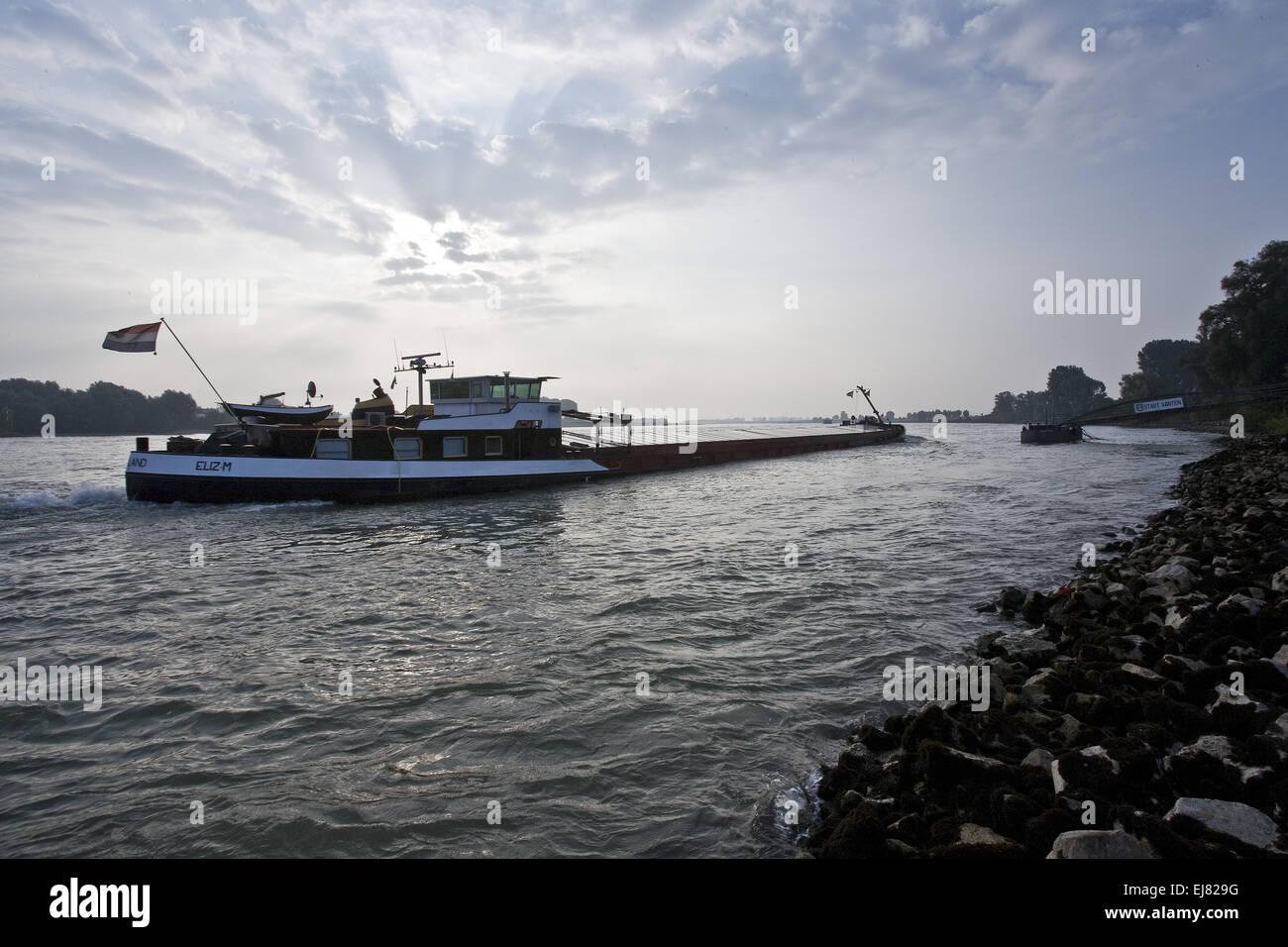 Cargo ship on the Rhein, Xanten, Germany - Stock Image