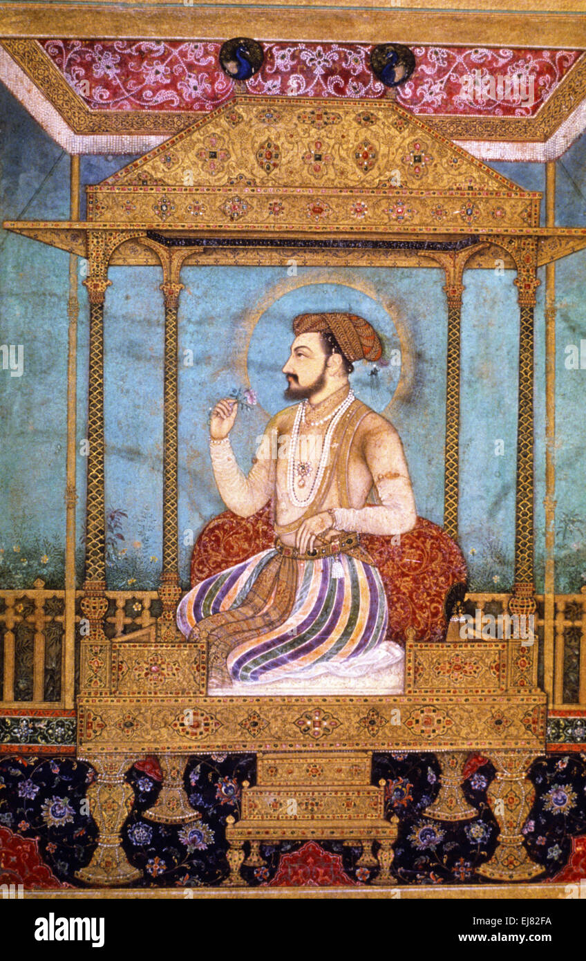 Shah Jahan on the Peacock Throne. Mughal miniature painting circa 1630 A.D. India Stock Photo
