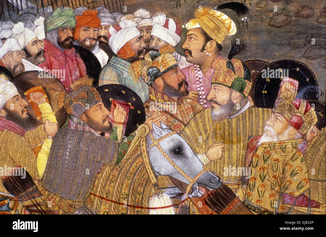 details of an incident in the seige of kandahar mughal miniature