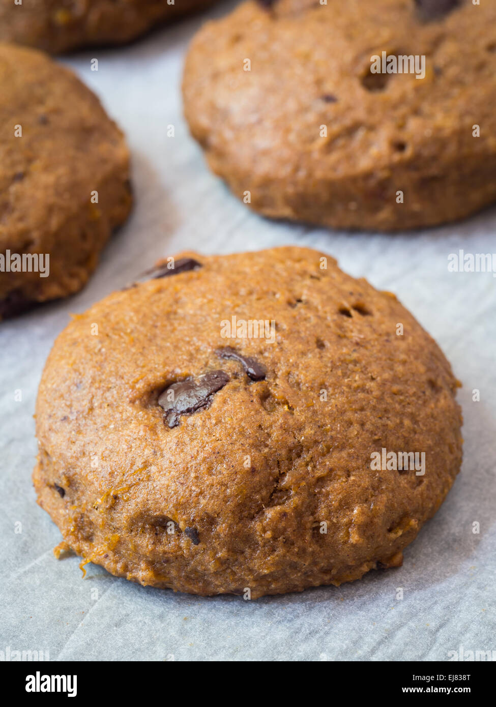 Vertical photo of whole grain vegan soft spelt pumpkin cookies with chocolate chips on a piece of baking paper. - Stock Image