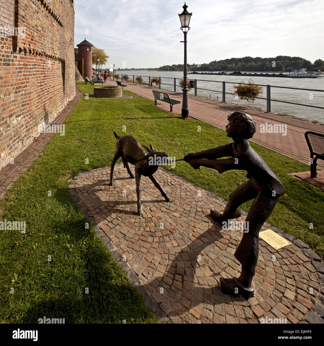 Sculpture on the city wall, Rees, Germany - Stock Image