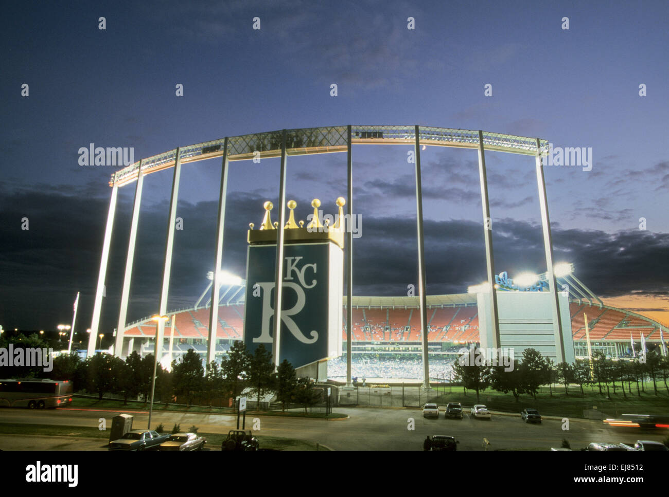 KANSAS CITY, MO – APRIL 10: Kansas City, Royals baseball fans at Kauffman Stadium in Kansas City, Missouri on April - Stock Image