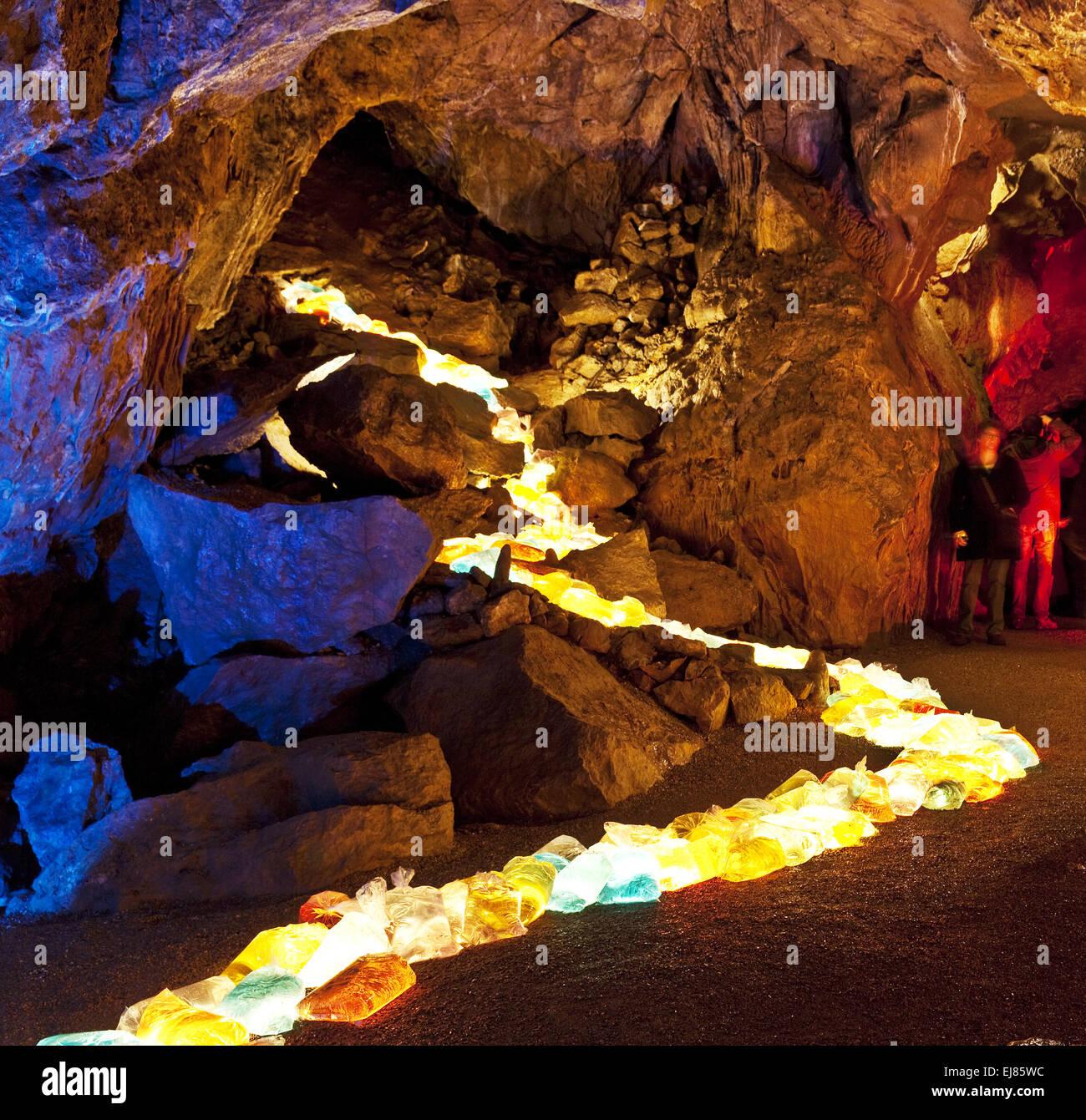 Cave lights, Dechen Cave, Iserlohn, Germany - Stock Image