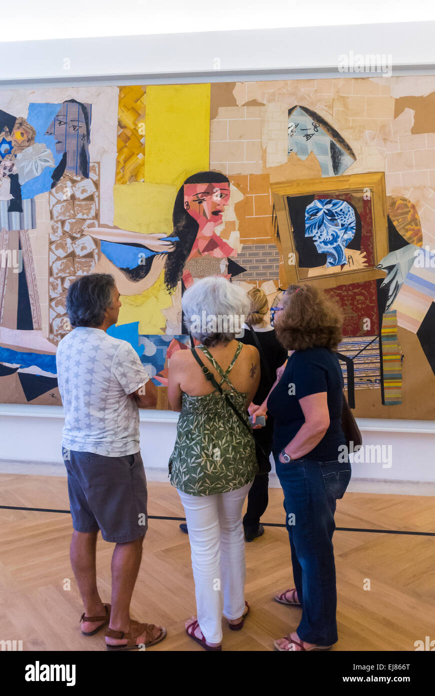 Paris, France, Group Women Tourists Visit inside Picasso Museum, Looking at Modern Paintings in Art Gallery - Stock Image