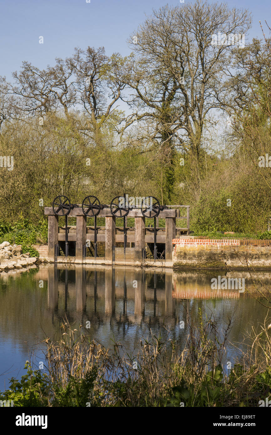 Sluice Gates Riseley berkshire UK - Stock Image