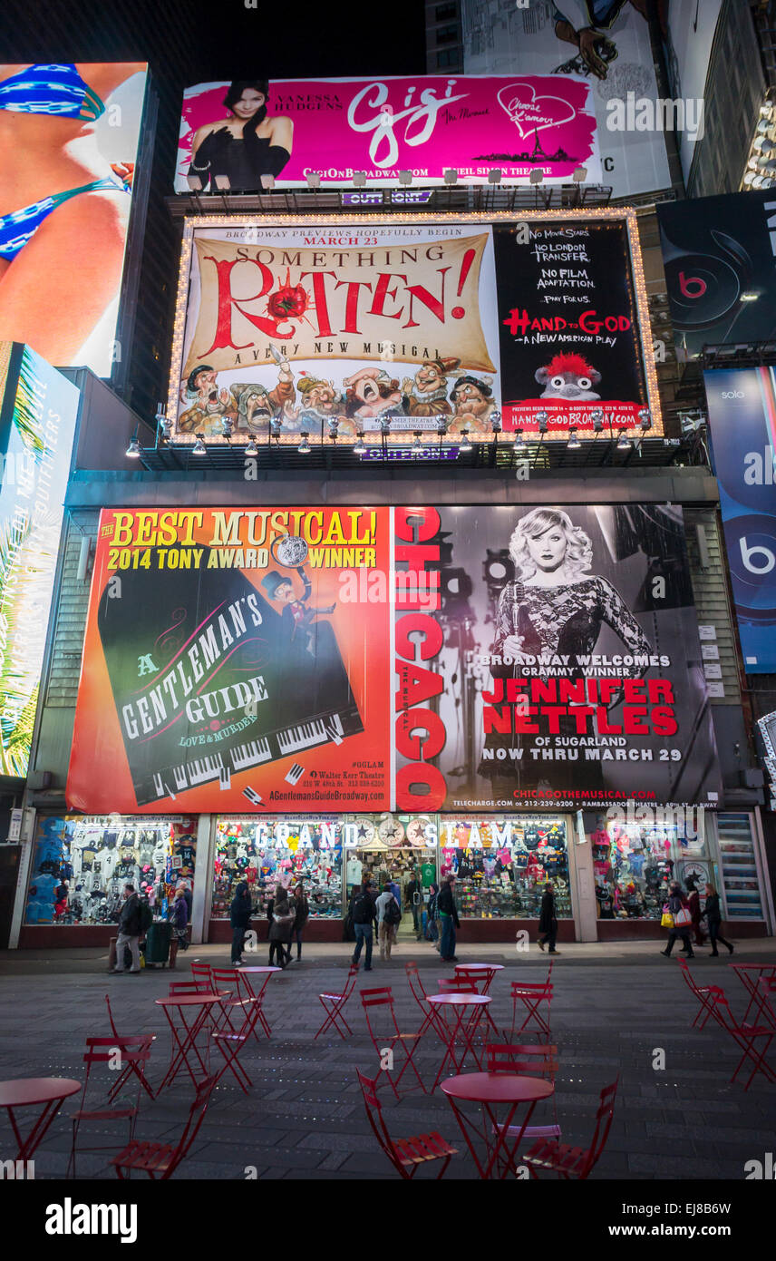 Advertising in Times Square in New York for Broadway plays and musicals  seen on Tuesday, March 17, 2015.  (© - Stock Image