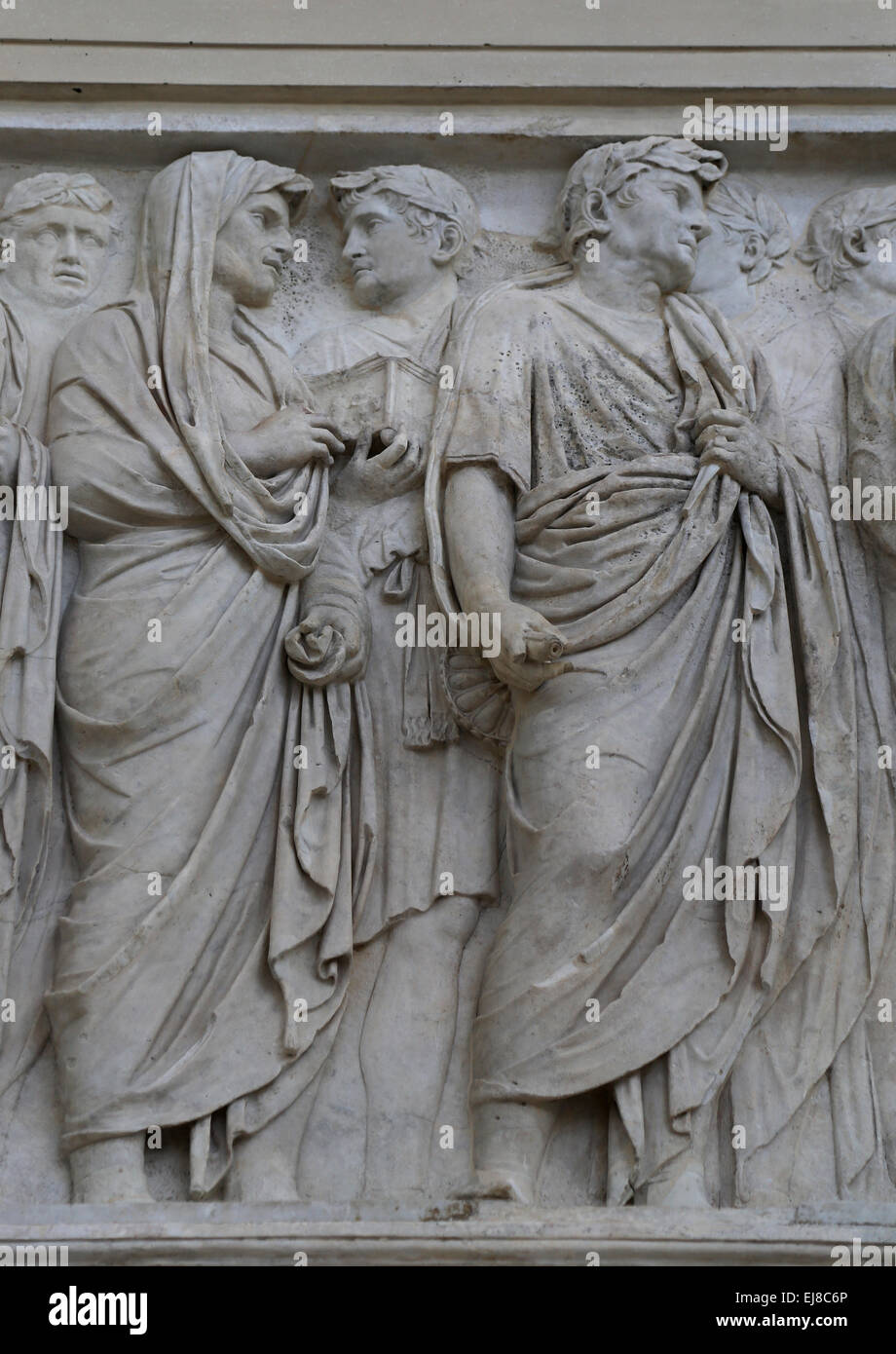 Italy. Rome. Ara Pacis Augustae. Altar dedicated to Pax. 13-9 BC. Processional frieze. - Stock Image