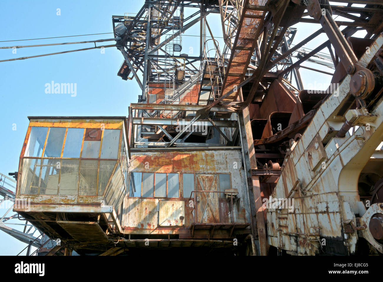 Excavator in open cast mining Stock Photo
