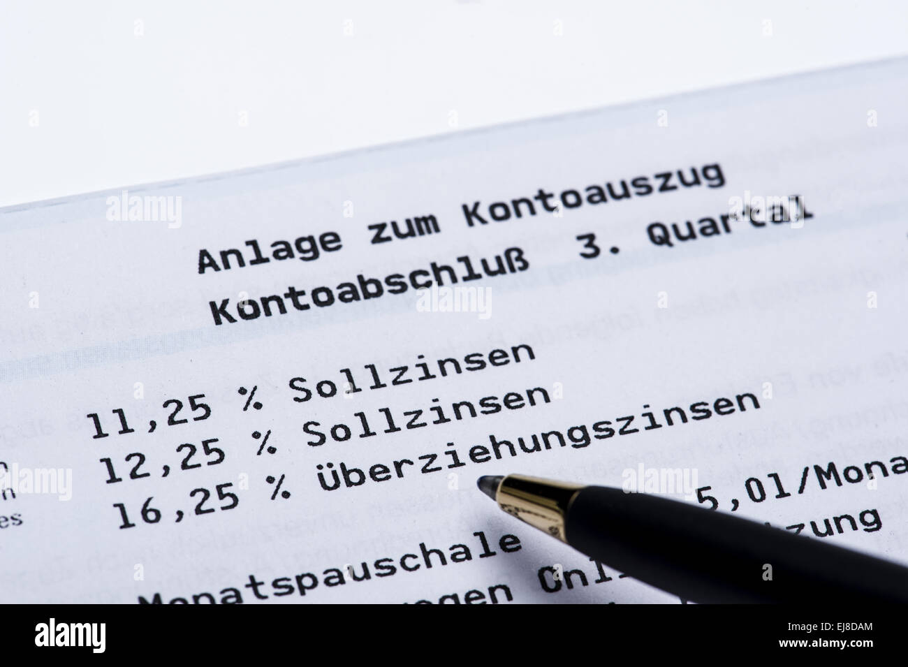 If interest on a bank statement Stock Photo