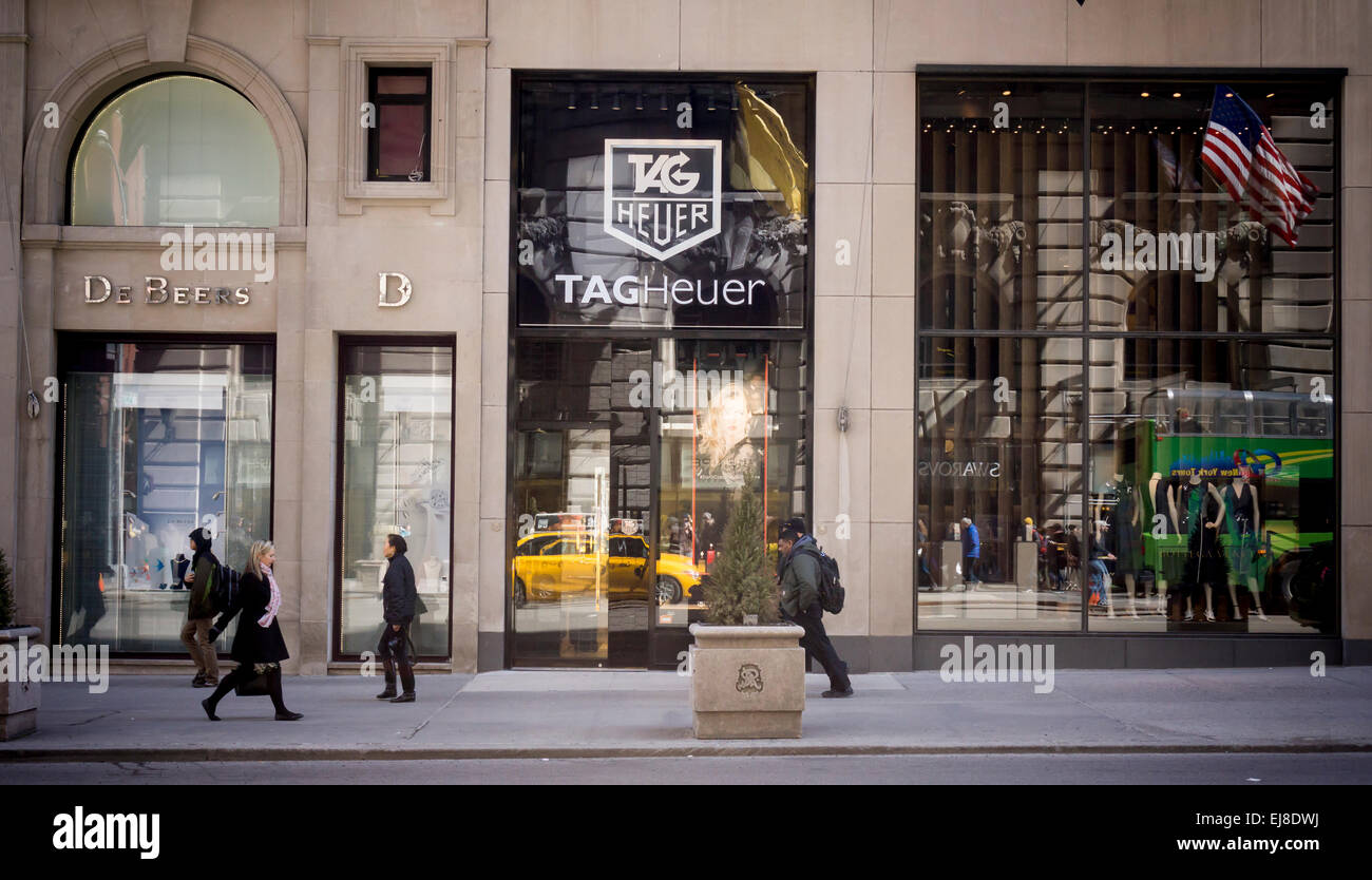 The TAG Heuer watch store on Fifth Avenue in New York on Thursday, March 19, 2015. The Swiss watchmaker announced - Stock Image