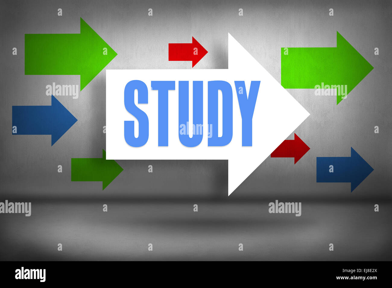 Study against arrows pointing - Stock Image
