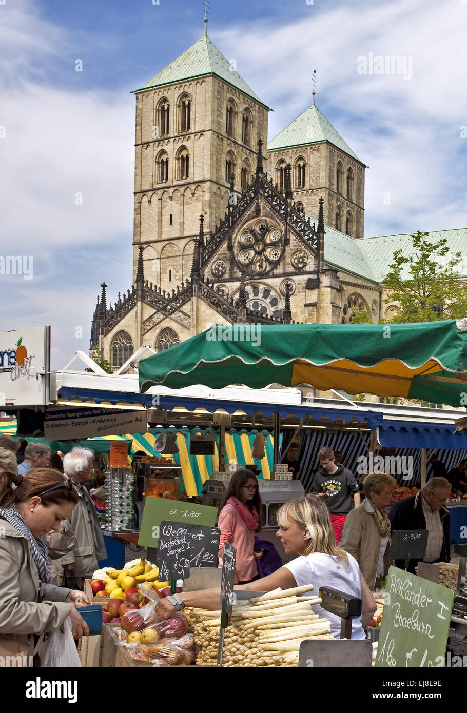 Weekly market, Dom, Muenster, Germany - Stock Image
