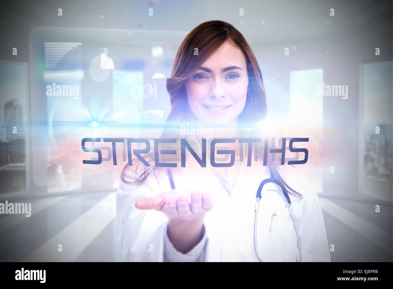 Strengths against global business hologram - Stock Image