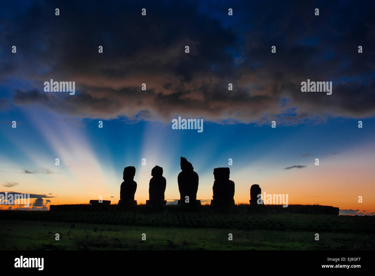 Ahu Vai Uri, Easter Island, Rapa Nui at sunset - Stock Image