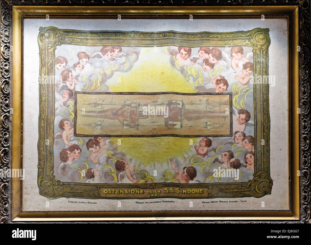Italy Piedmont Turin Museum of the Shroud depiction exposition of the Shroud 1931 - Stock Image