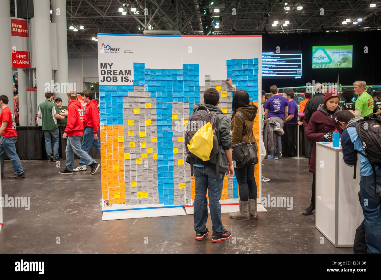 Participants visit a Career Expo held at the FIRST Robotics NYC Championship at the Jacob Javits Convention Center - Stock Image