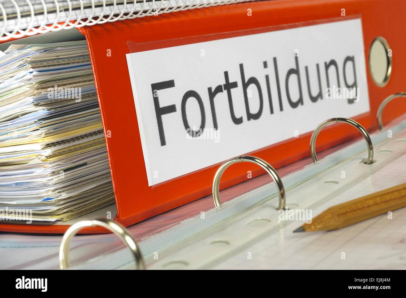 Fortbildung marked on german file folder Stock Photo