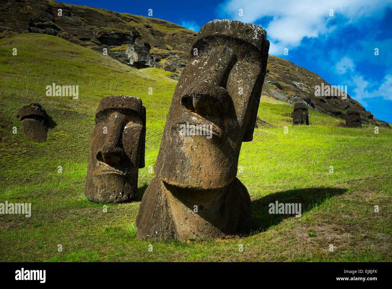 Moai at Rano Raraki, Easter Island, Rapa Nui, Chile - Stock Image