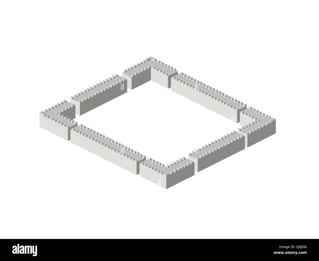 Isometric walls - Stock Image