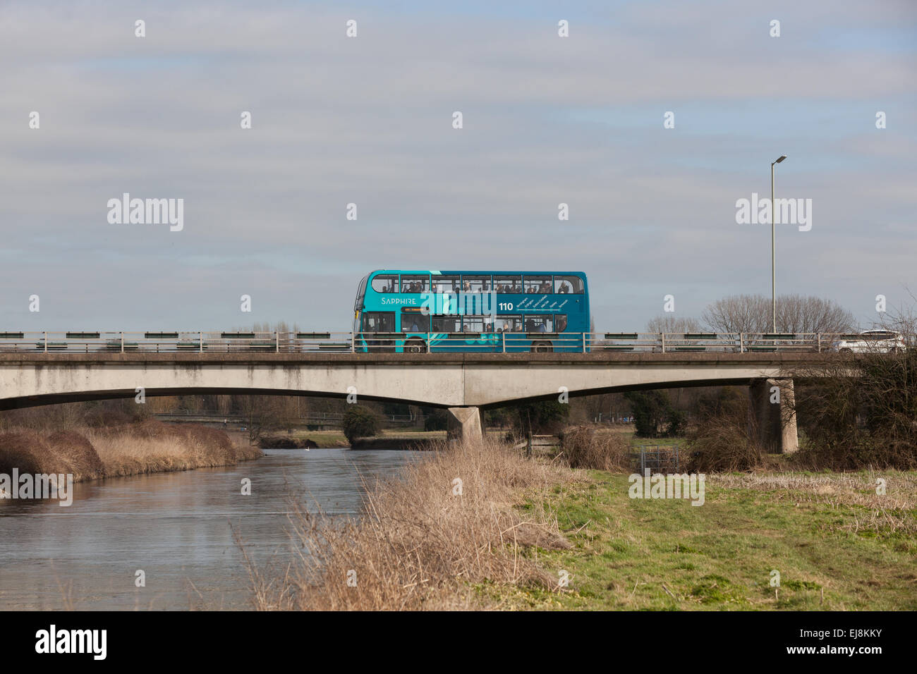 An Arriva Sapphire doubledecker bus in the Midlands UK. - Stock Image