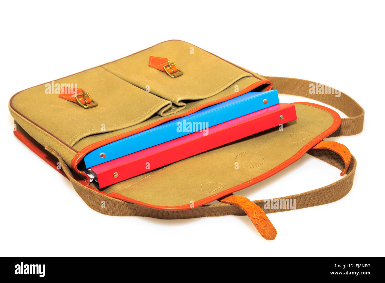 Traditional khaki canvas and leather briefcase containing red and blue folders isolated on a white background. Education - Stock Image