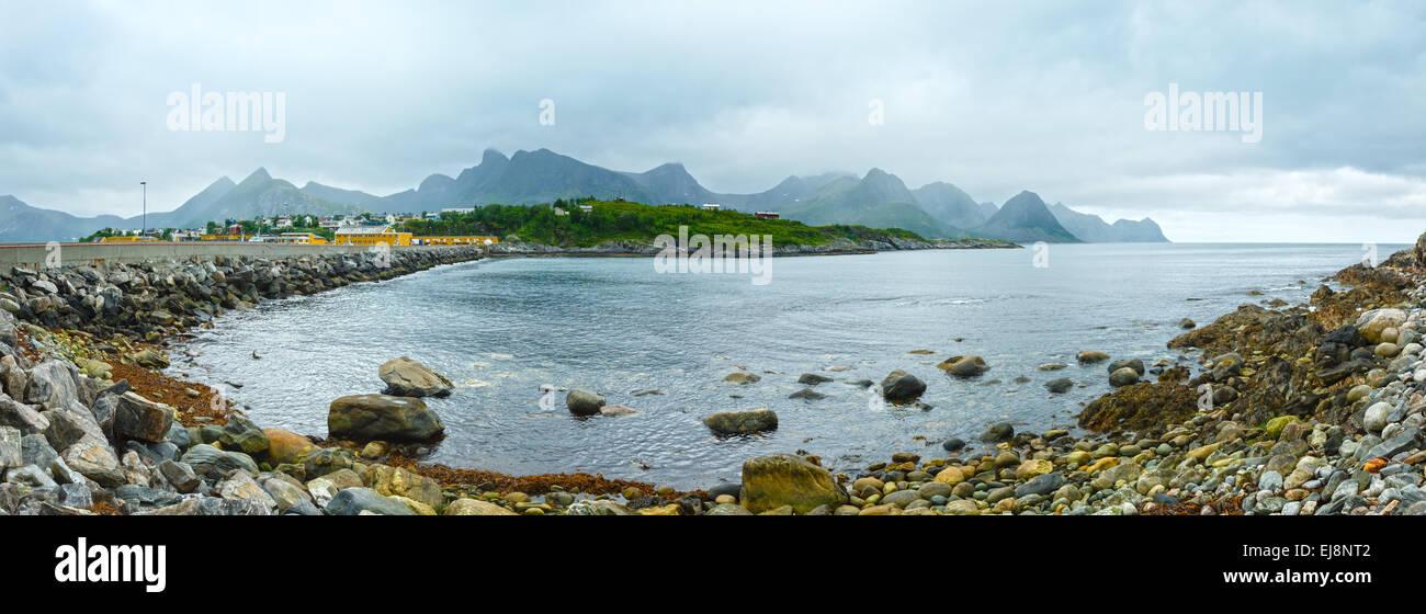 Summer Senja coast panorama (Norway). - Stock Image