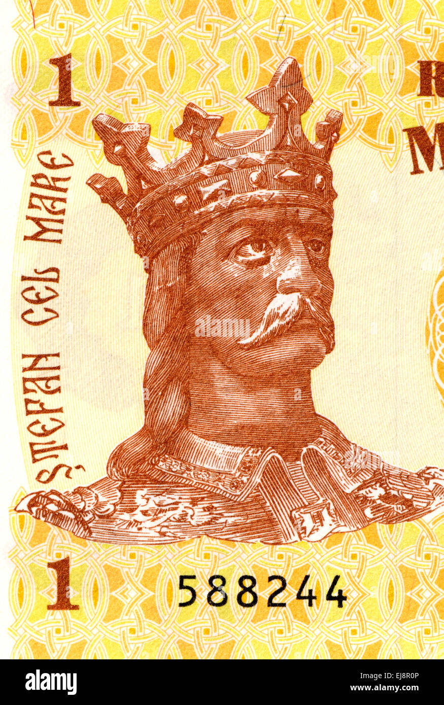 Detail from a Moldovan 1 Leu banknote showing King Stephen III of Moldova - Stock Image