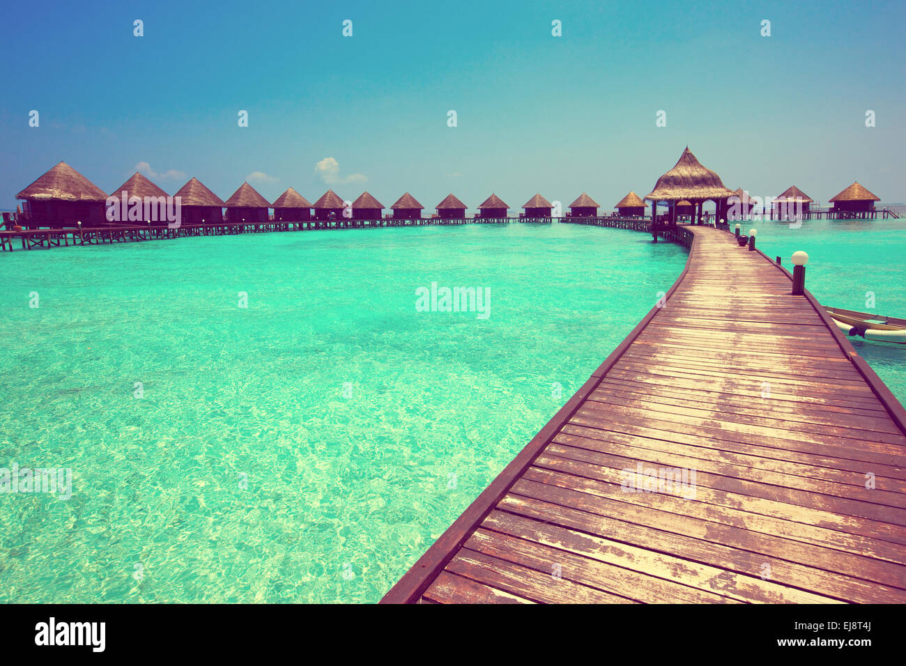 houses on piles on sea. Maldives. - Stock Image