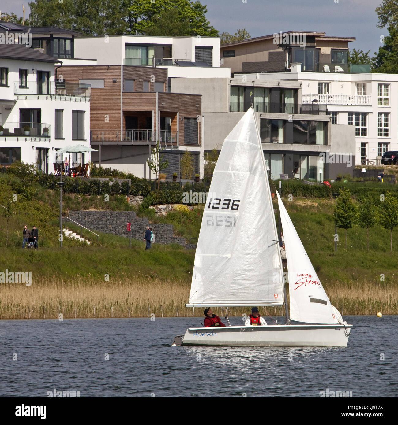 Sailboat, Phoenix Lake, Dortmund, Germany - Stock Image
