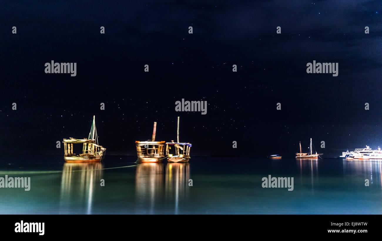 Boats anchored near the shores of Zanzibar - Stock Image