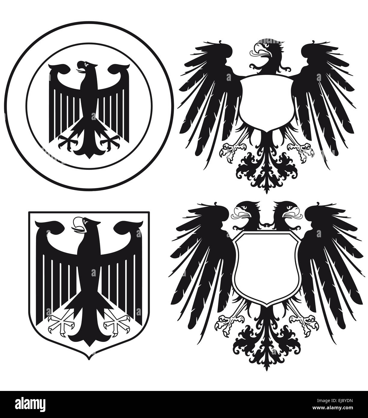 Eagle heraldic shields - Stock Image