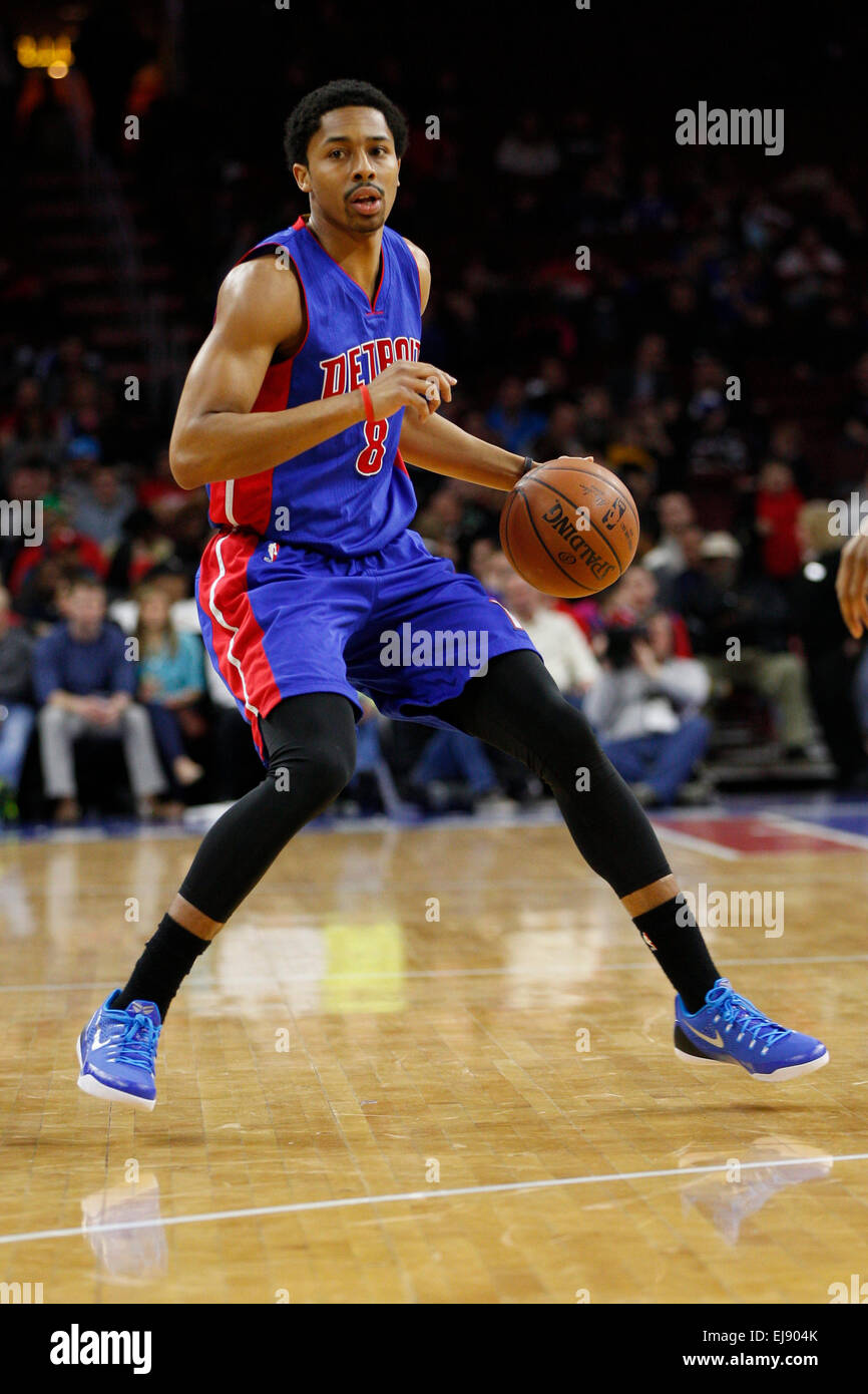 March 18, 2015: Detroit Pistons guard Spencer Dinwiddie (8) in action during the NBA game between the Detroit Pistons Stock Photo