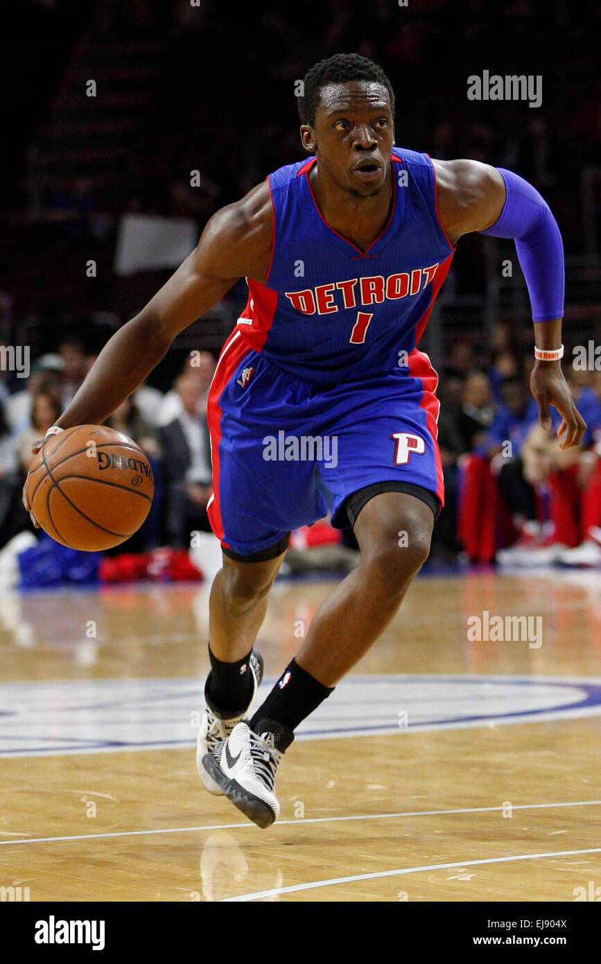 March 18, 2015: Detroit Pistons guard Reggie Jackson (1) in action during the NBA game between the Detroit Pistons Stock Photo