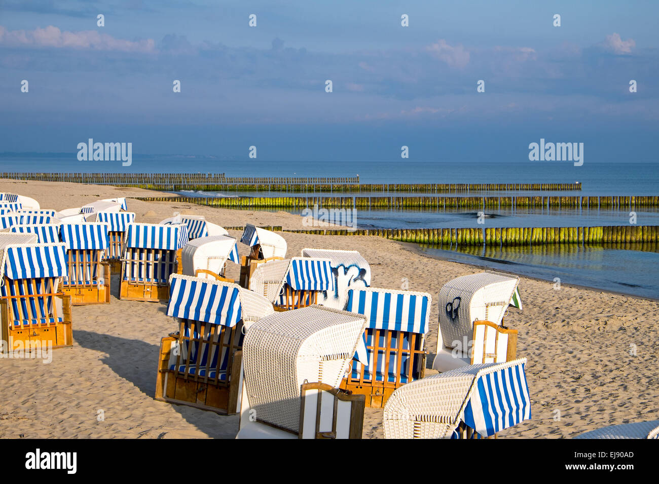 Beach chairs at the Baltic Sea - Stock Image