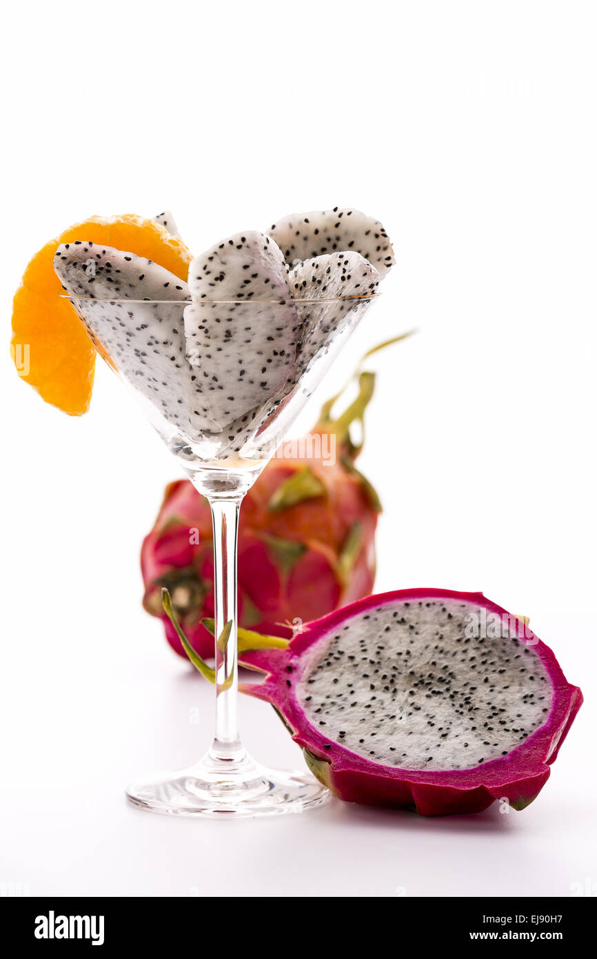 Fruit pulp of the Pitaya in a glass - Stock Image