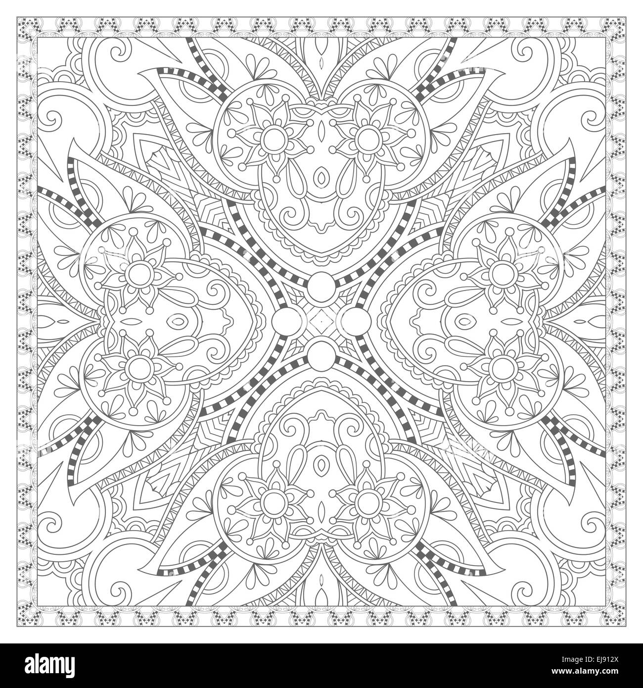 coloring book square page for adults - ethnic floral carpet Stock ...