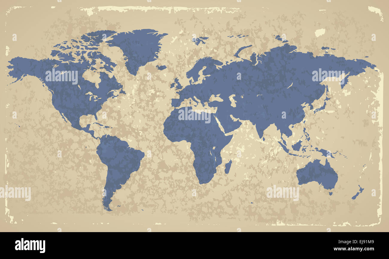Retro-styled World map - Stock Image
