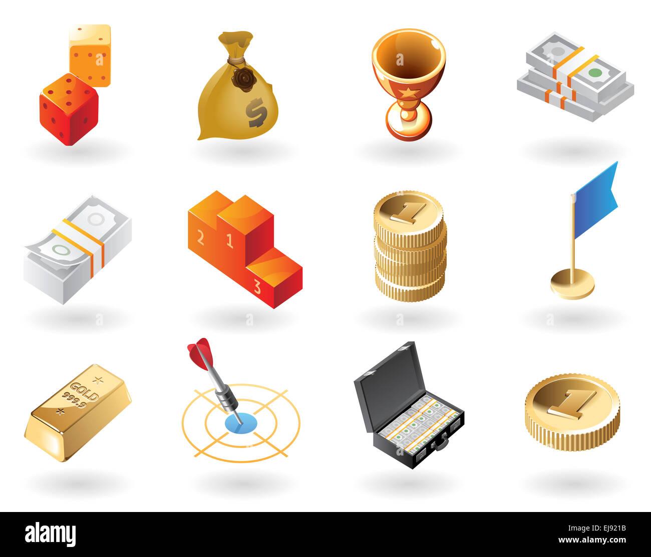 Isometric-style icons for awards - Stock Image