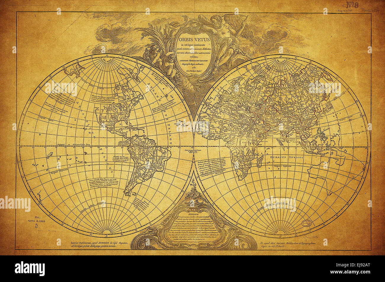 vintage map of the world 1752 - Stock Image