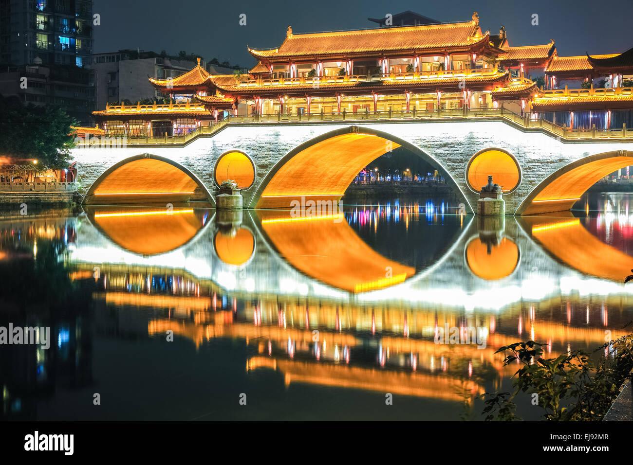 beautiful chengdu anshun bridge closeup - Stock Image